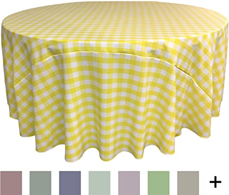 Superieur LA Linen Poly Checkered Round Tablecloth, 132 Inch, Light Yellow/White