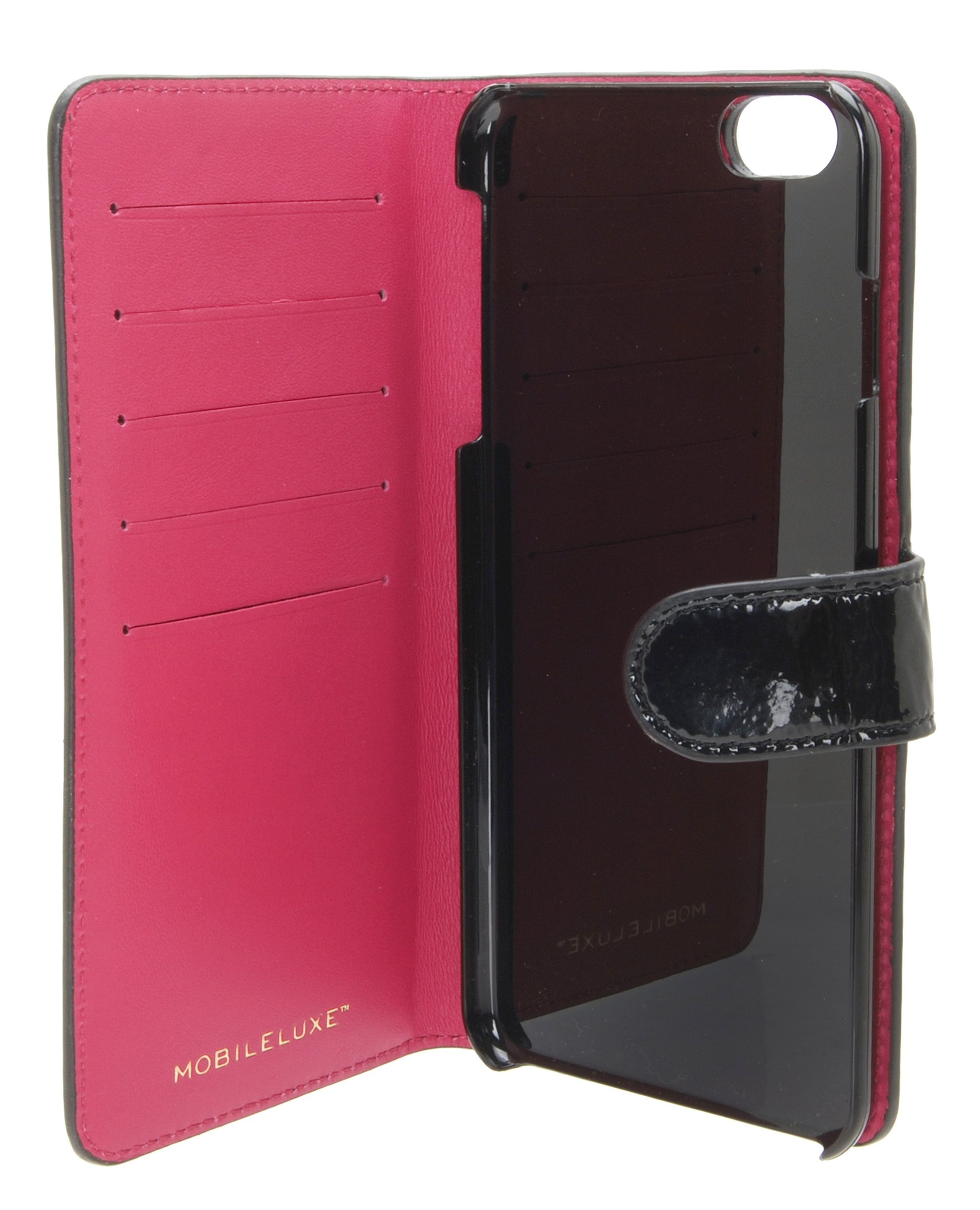 MOBILELUXE Patent Leather Wallet Phone Case for iPhone 6 Plus & 6s Plus - Patent Black/Fuchsia by MOBILELUXE (Image #4)
