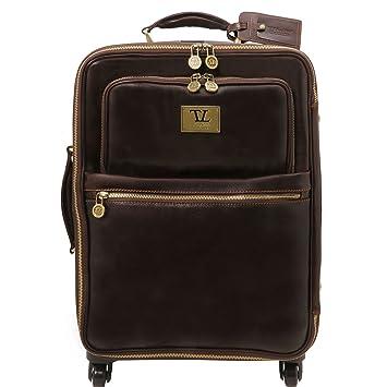 Tuscany Leather TL Voyager Valise verticale en cuir avec deux roulettes Marron njHNtJZ9O