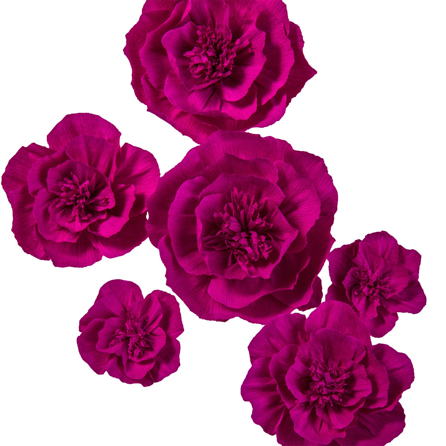 Ling's moment Large Crepe Paper Flowers, 6 X Rose Handcrafted Paper Flower, Wall Hanging Large Flower, Paper Flower Fall Decorations for Wedding Backdrop Baby Nursery Archway