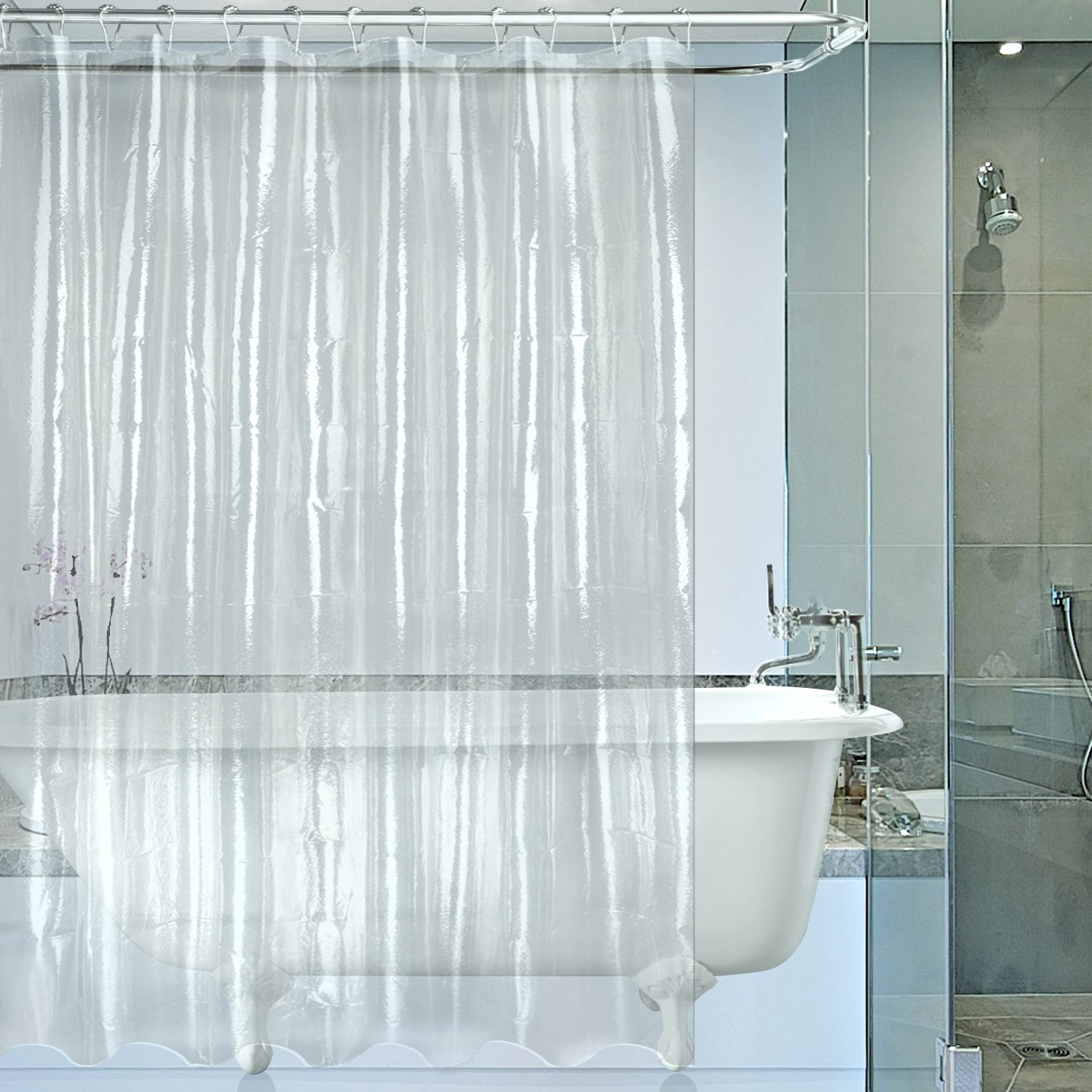 Transparent Clear Shower Curtain Liner Mildew Mold Resistant ...