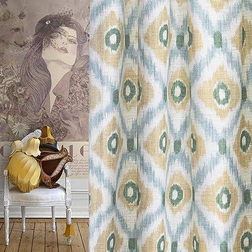 Roslynwood Curtains 84-inch Bohemian Chic Eye-catching Geometric Patterned Bedroom Rod Pocket Soft Drape