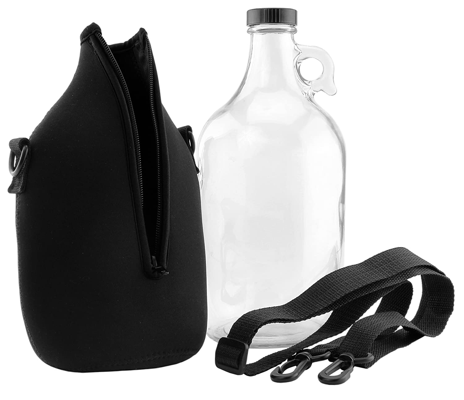64-Ounce Clear Glass Kombucha & Beer Growler Jug w/ Black Neoprene Sleeve & Carrying Strap; (2-Piece Set w/ Half Gallon Jug & Carrying Sleeve) Cornucopia Brands