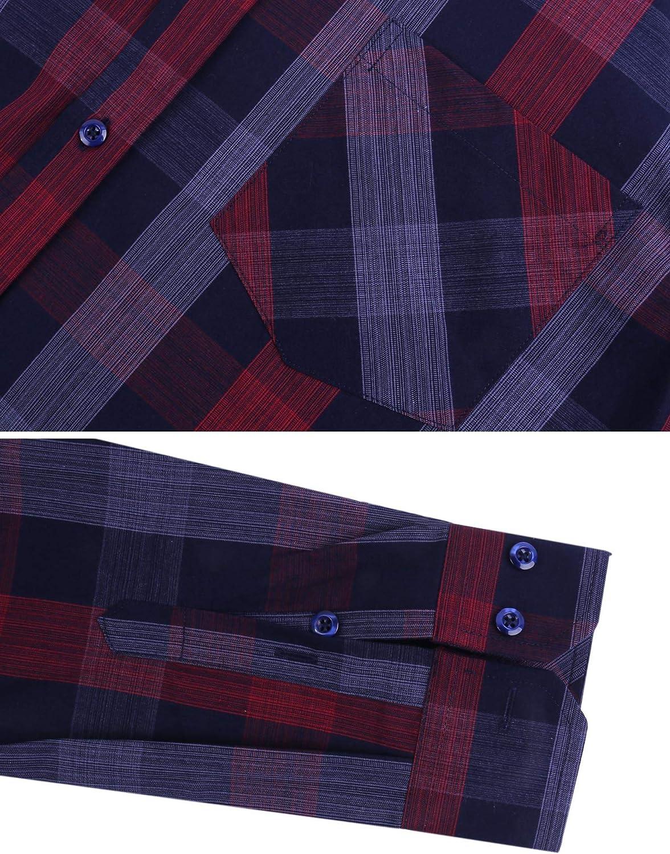 iClosam Mens Regular-fit Short Sleeve Cotton Plaid Shirt Loose fit Button Down Pocket Casual Shirt Top