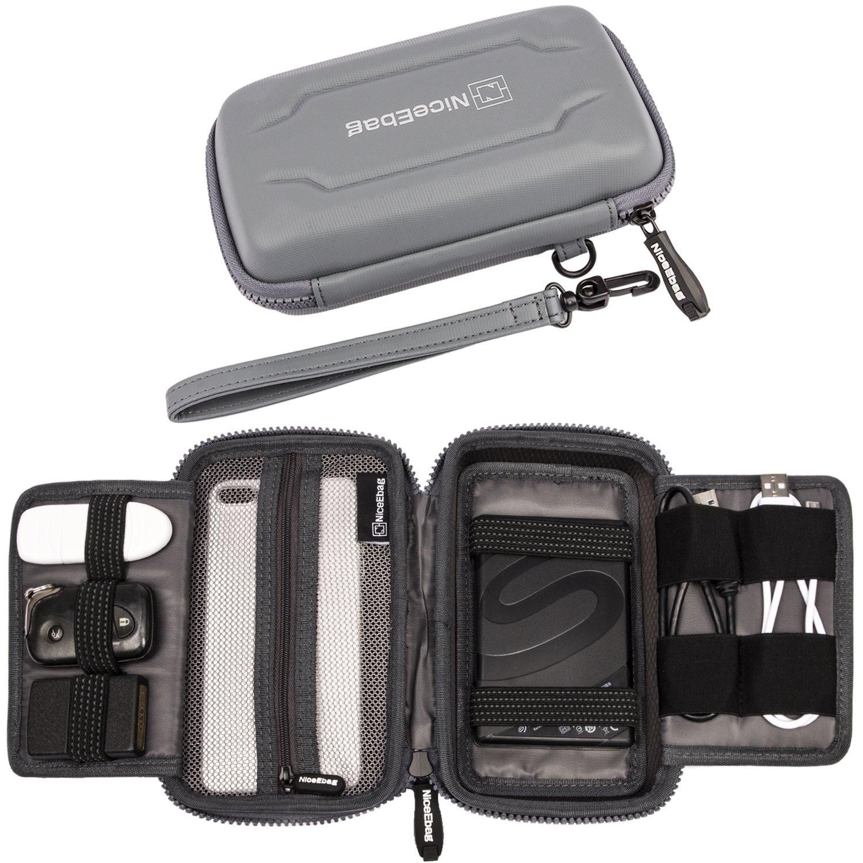 NiceEbag EVA Portable Electronics Accessories Carrying Storage Case Power Bank USB Data Cords Multiple External Hard Drive Healthcare Grooming Kit Travel Bag (Grey) by NiceEbag (Image #1)