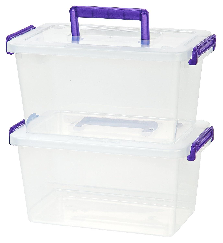 Amazon.com: IRIS Medium Deep Modular Latching Box   Purple Handle, 6 Pack,  Clear: Home U0026 Kitchen