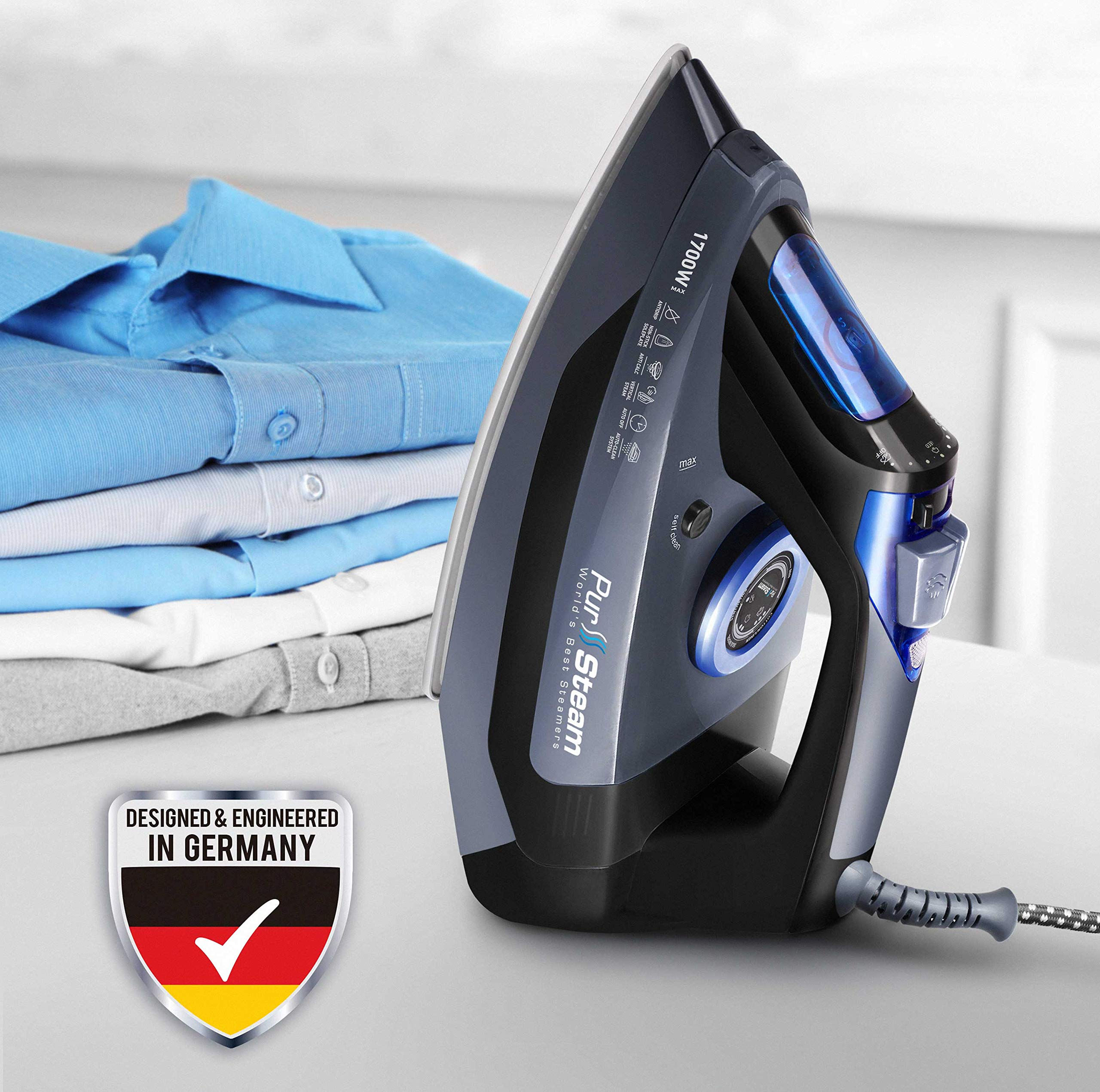 Professional Grade 1700W Steam Iron for Clothes with Rapid Even Heat Scratch Resistant Stainless Steel Sole Plate, True Position Axial Aligned Steam Holes, Self-Cleaning Function + Thermostat Dial by PurSteam World's Best Steamers (Image #6)