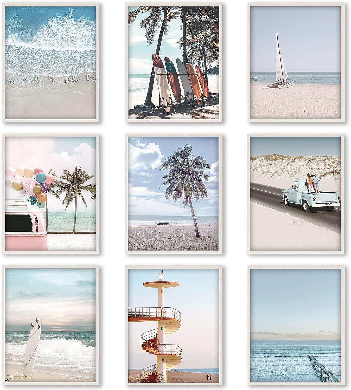 9 PiecesBeach Wall Art Prints Ocean Beach Décor Nautical Themed Posters Teens Girls Bedroom Decor, 8 x 10 Inch, Beach Wall Art Decoration for Men and Women Living room Bedroom