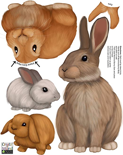 Bunny Rabbit Family Wall Decals Forest Kids Wall Decals Baby Nursery Toddler Room Wall Decor Boys Girls Wall Stickers Bedroom Decoration Diy Decor Kitchen Dining Amazon Com