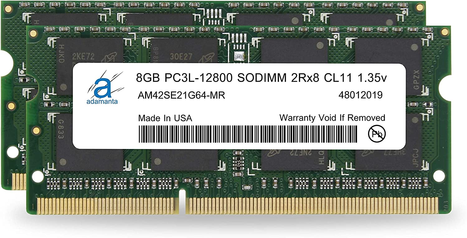 Adamanta 16GB (2x8GB) Apple Memory Upgrade DDR3/DDR3L 1600Mhz PC3L-12800 SODIMM 2Rx8 CL11 1.35v Compatible for iMac, MacBook Pro, Mac Mini RAM