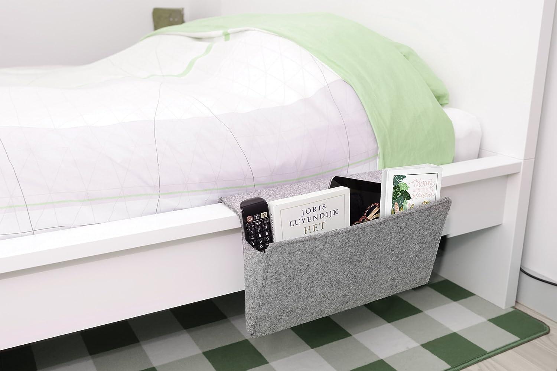 Kikkerland Fourre-Tout pour lit en Feutre 42/x 21,5/x 2,5/cm Gris