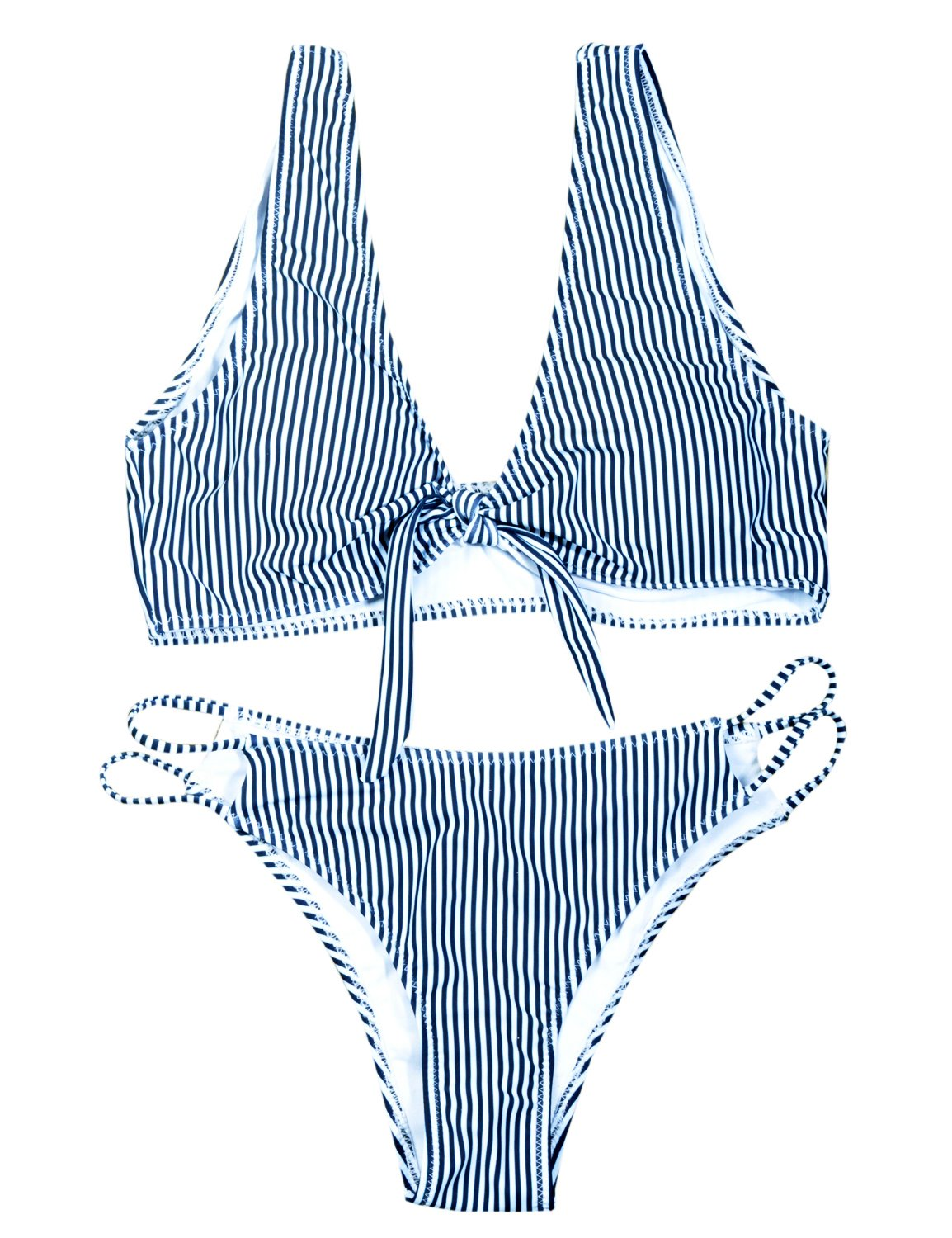 BMJL Women's Sexy Detachable Padded Cutout Push Up Striped Bikini Set Two Piece Swimsuit (M,Navy & White) by BMJL (Image #4)