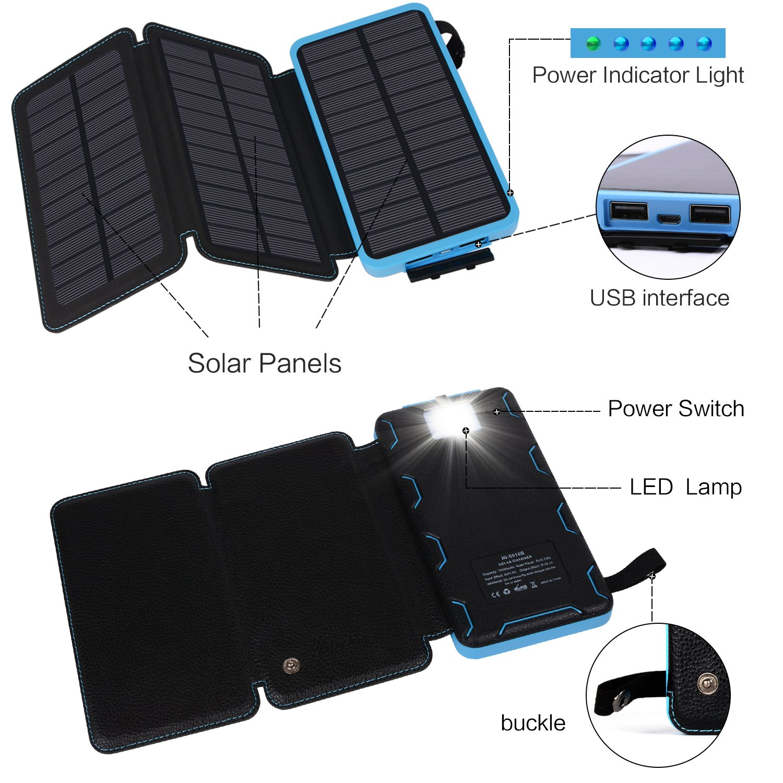 amazon com hiluckey solar charger 10000mah waterproof solar battery