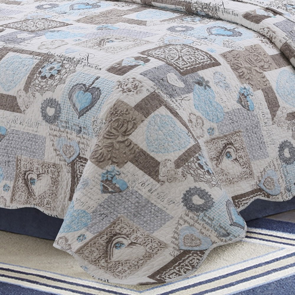 Hilin Fashion 4-Piece Bubble Reversible Solid Quilt set with Shams,as Bedspread,Coverlet BEIGE, 106X96 Blanket summer quilt or Bed Cover,King size-Soft Lightweight and Hypoallergenic,all seasons HAILIN