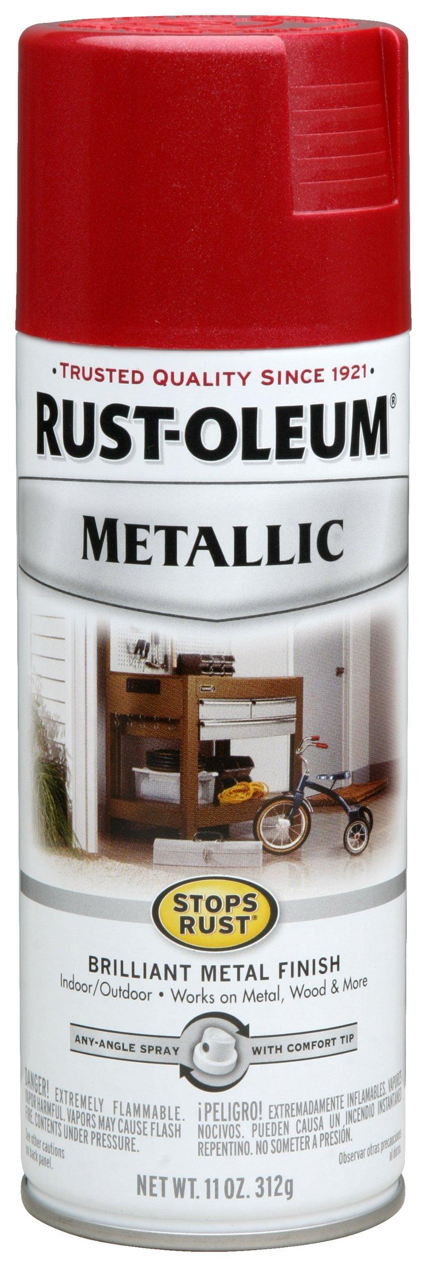 Rust-Oleum 7256830 Stops Rust Metallic Spray Paint, 11 oz, Apple Red by Rust-Oleum