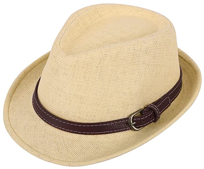 9f3807f6496 Kids Girls Boys Straw Fedora Hat Children Beach Hat Sun Hat Beige Buckle