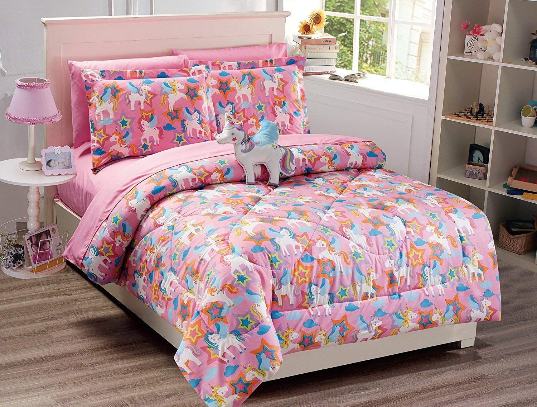 Linen Plus Queen Size 8pc Comforter Set Girls Unicorn Pink Blue Purple Orange Yellow New