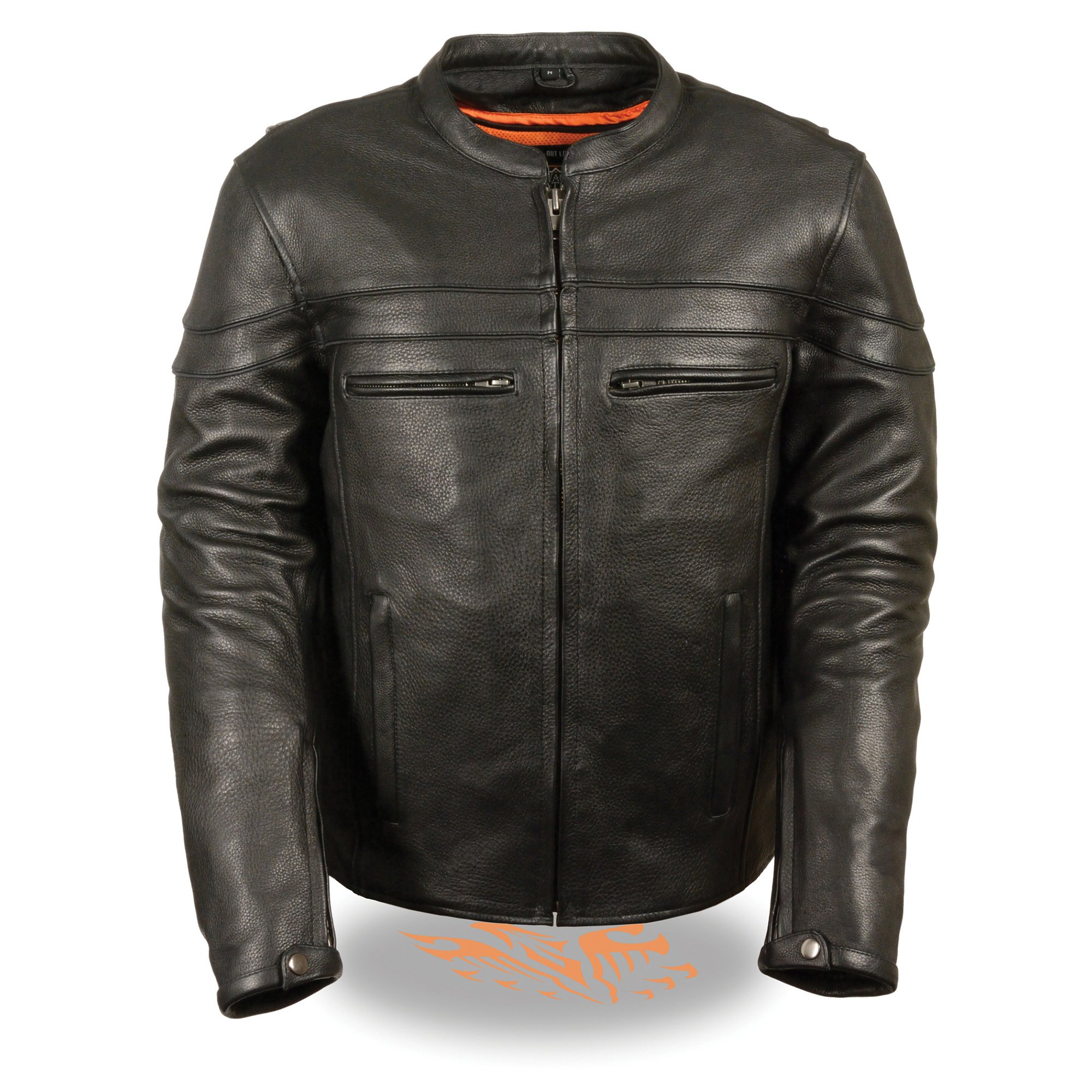 Mens Leather Sporty Scooter Crossover Jacket