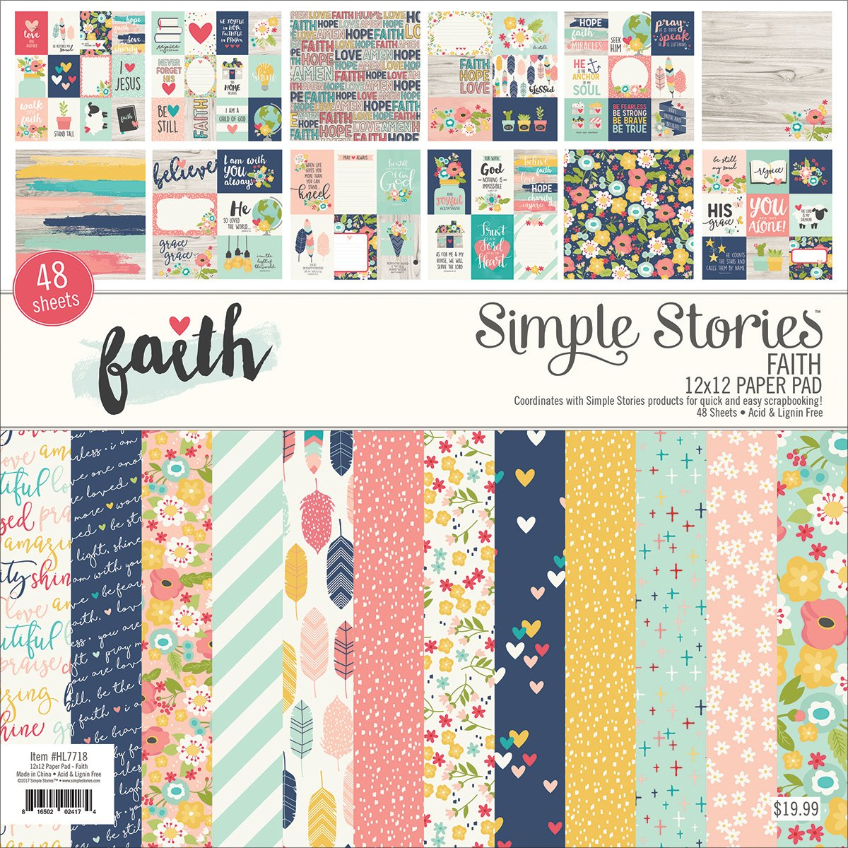 Simple Stories Single-Sided Paper Pad -Faith, 24 Designs/2 Each Each, 12'' x 12''