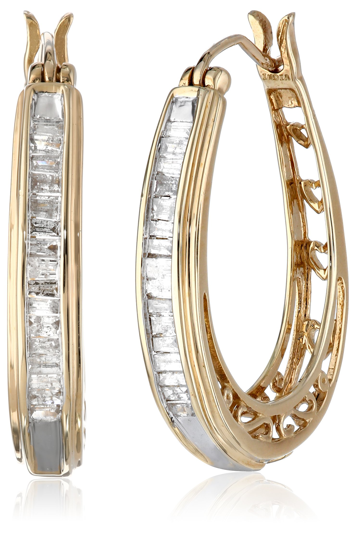 10K Yellow Gold Diamond Hoop Earrings (1/2 cttw)
