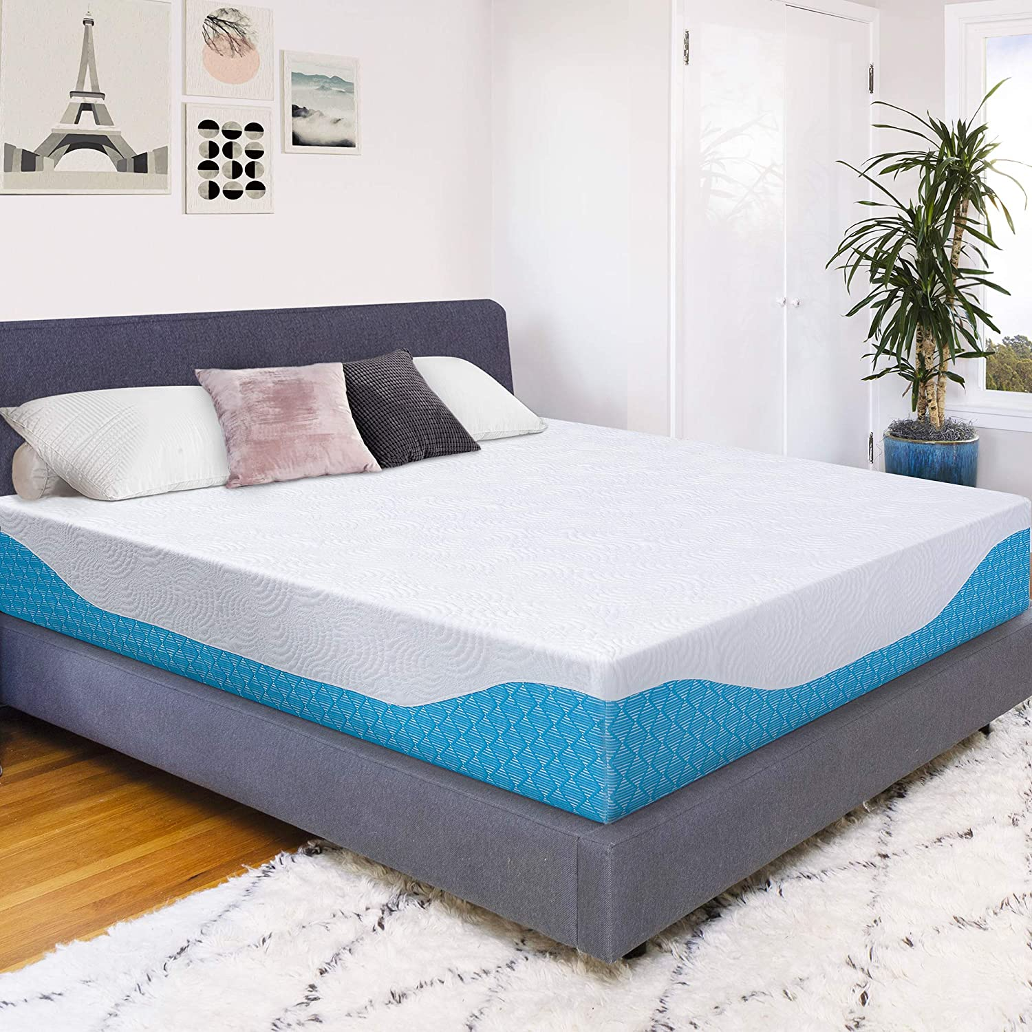 PrimaSleep 12 Inch Multi-Layered I-Gel Infused Memory Foam Mattress,Queen,White Blue