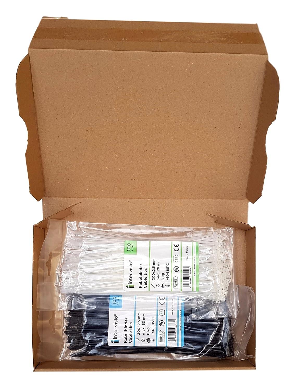 Negro y Blanco 200 Piezas intervisio Juego Bridas de Plastico para Cables 200mm x 2,5mm