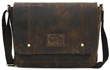 f986696db3a17 TUSC Charon Braun Büffel Leder Tasche Vintage  Amazon.de  Computer ...