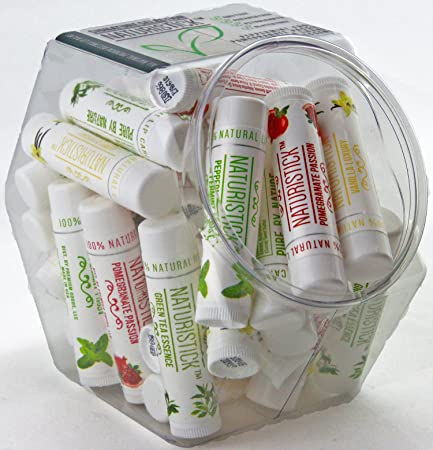 All-Natural Beeswax Lip Balm in Mini Fishbowl 32 Pk Bulk by Naturistick. Best Healing Chapstick for Dry, Chapped Lips. With Aloe Vera, Vitamin E, Coconut Oil for Men, Women and Kids. Made in USA.