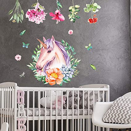 Cameretta Per Bimba.Sayala Unicorno Decalcomanie Colorato Unicorno Adesivi Da Parete Cameretta Bimba Adesivi Murali Camerette Bambini Decorazione 1032