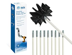 Fette Appliance - Flexible Dryer Vent Cleaning Kit, Lint Remover, Extends up to 12 Feet, Synthetic Brush Head, Use with or Without a Power Drill