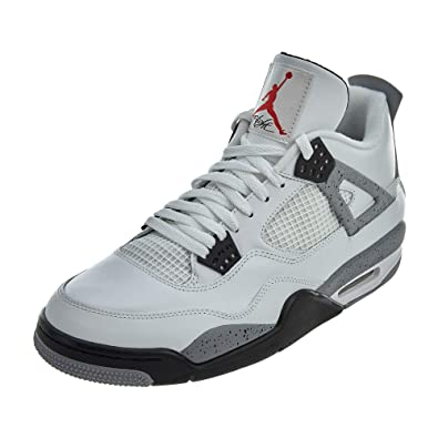 Jordan Air 4 IV Retro Cements Mens Shoes White Black-Cement Grey 308497- 2fb2a4fbc