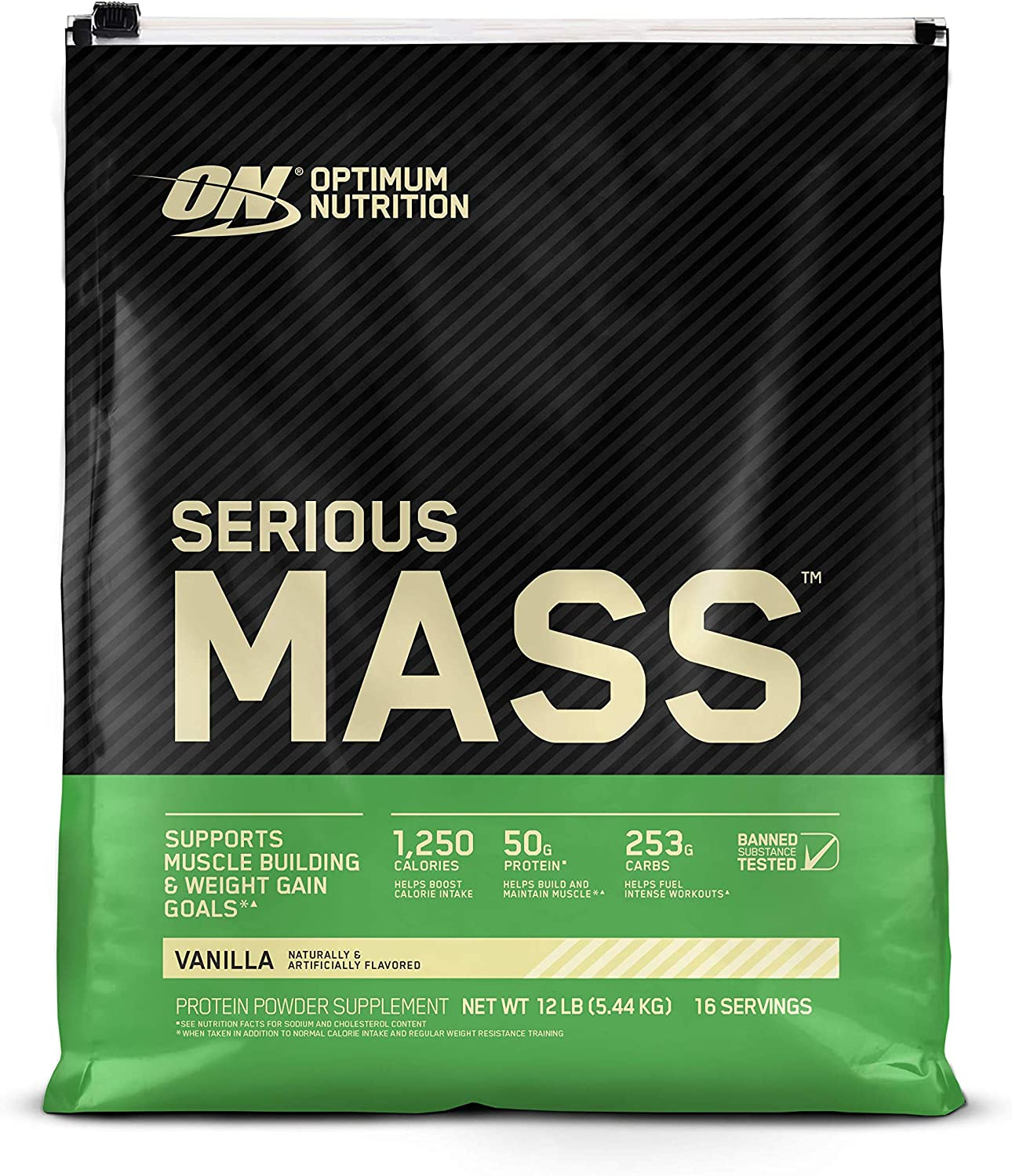 Optimum Nutrition Serious Mass Weight Gainer Protein Powder, Vitamin C, Zinc and Vitamin D for Immune Support, Vanilla, 12 Pound (Packaging May Vary)