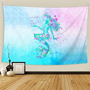 BOOPBEEP Room Decor Tapestry for Teen Girls, Mermaid Colorful Aesthetic 3D Wall Hanging Tapestry with HD Prints/ Soft/ No-fading/ Color Vibrant for Dorm Bedroom Home (60