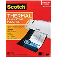 Scotch Thermal Laminating Pouches, 8.9 x 11.4-Inches, 3 mil thick, 50-Pack (TP3854-50),Clear