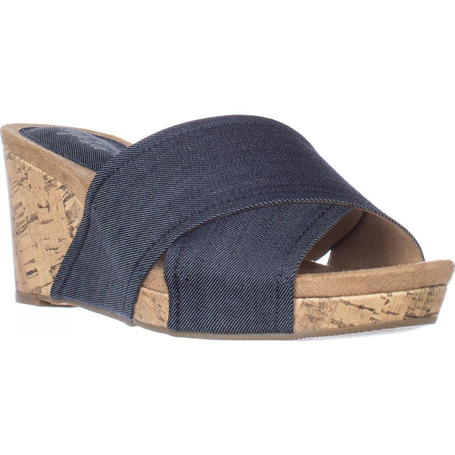 Style & Co. Womens Jillee Canvas Open Toe Casual Platform, Indigo, Size 8.0