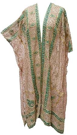 Hand Embroidered Paisley Vintage Silk Shawl Kimono Jacket Pink Green Gold