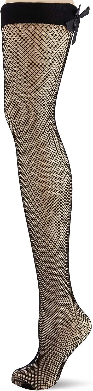 Medium Size:S//M Black Black Pour Moi? Womens All Wrapped Up Bow Fishnet Back Seam Stocking Hold Black