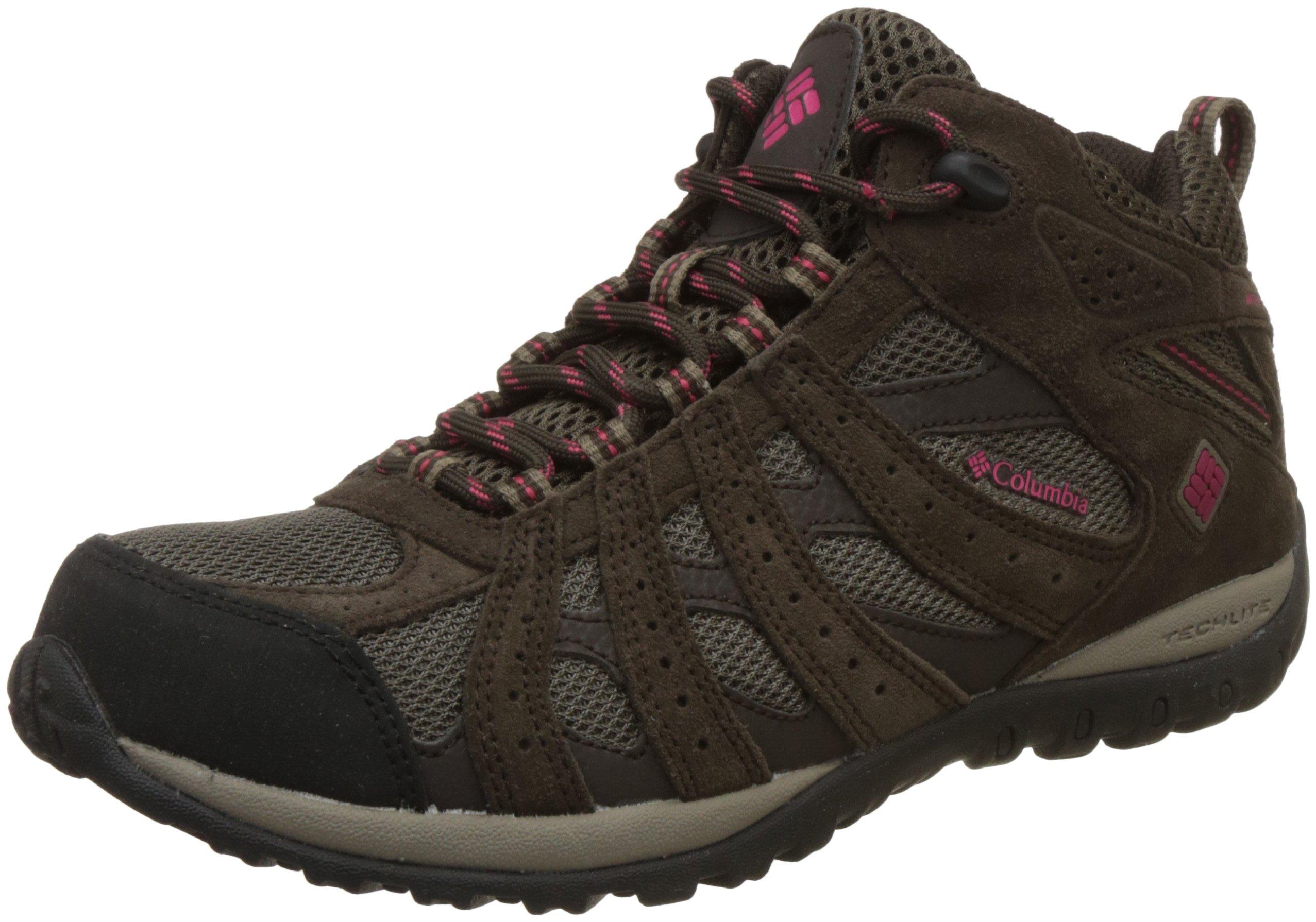 Columbia Women's Redmond Mid Waterproof Trail Shoe, Mud/Red Orchid, 10 M US