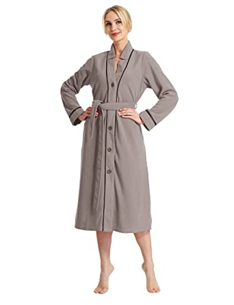 c97289bef4 RAIKOU New Ladies Bathrobe - Dressing Gown Sauna Gown- Soft and Fluffy   Amazon.co.uk  Clothing