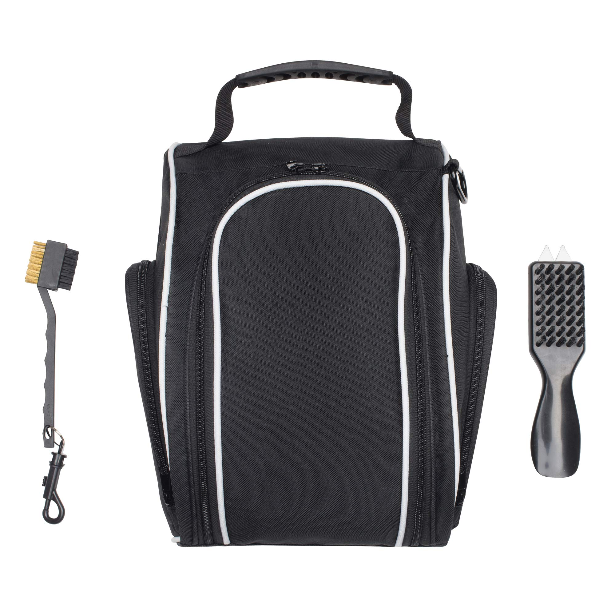 DesignWorks Golf Shoe Bag Tote for Men and Women, Hanging Clip and Large Zippered Side-Pockets, includes Golf Accessories Bonus by DesignWorks