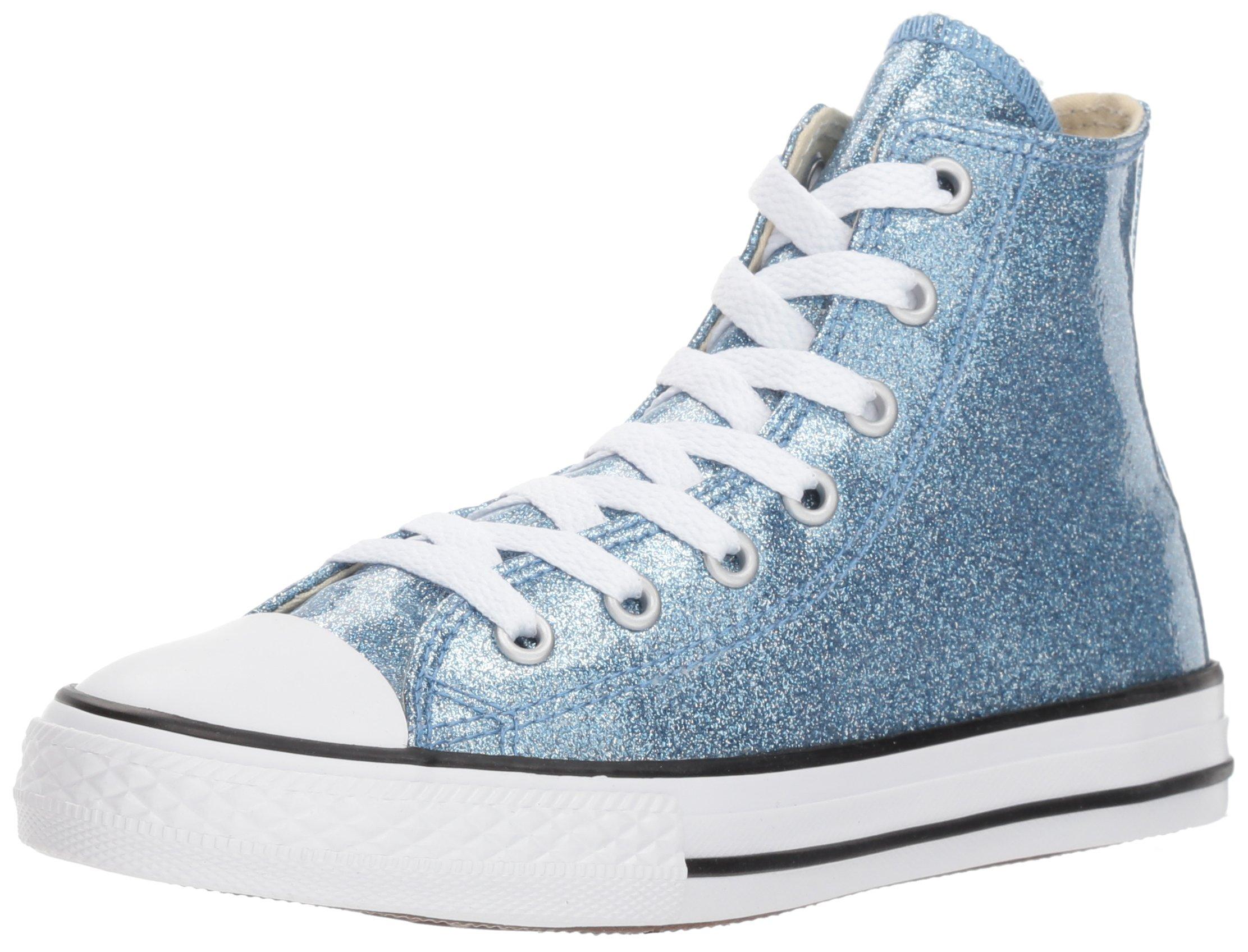 Converse Girls' Chuck Taylor All Star Glitter High Top Sneaker, BlueSilver, 5 M US Big Kid
