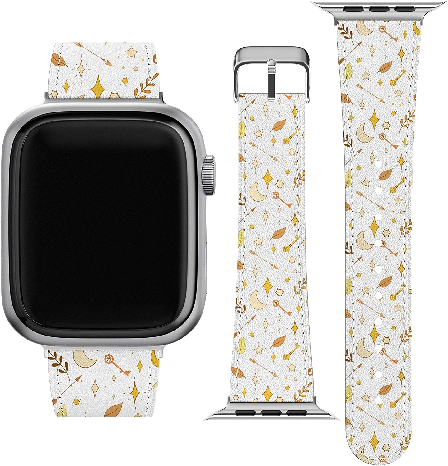 Lex Altern Band Compatible with Apple Watch Series 6 SE 5 4 3 2 1 38mm 40mm 42mm 44mm Magic Stars Stylish Cute Durable Vegan Leather Print Boho Moon Celestial Arrows Replacement Strap for iWatch wh209