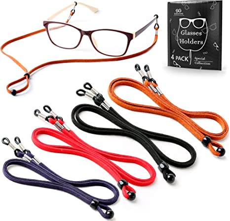 Eyeglass Strap PLENTY 2PCS PU Leather Eyeglass Retainer Eyewear String Anti-Slip Holder Glasses Cord Brown