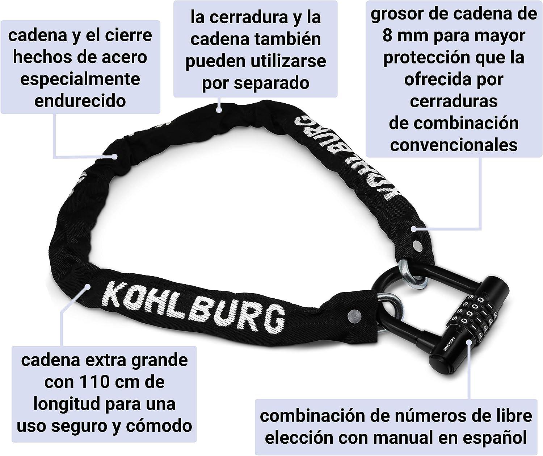 KOHLBURG candado de combinaci/ón segura con cadena fuerte de 8mm Cierre de cadena para la bicicleta cerrojo de bicicleta extra largo de 110 cm con combinaci/ón de n/úmeros