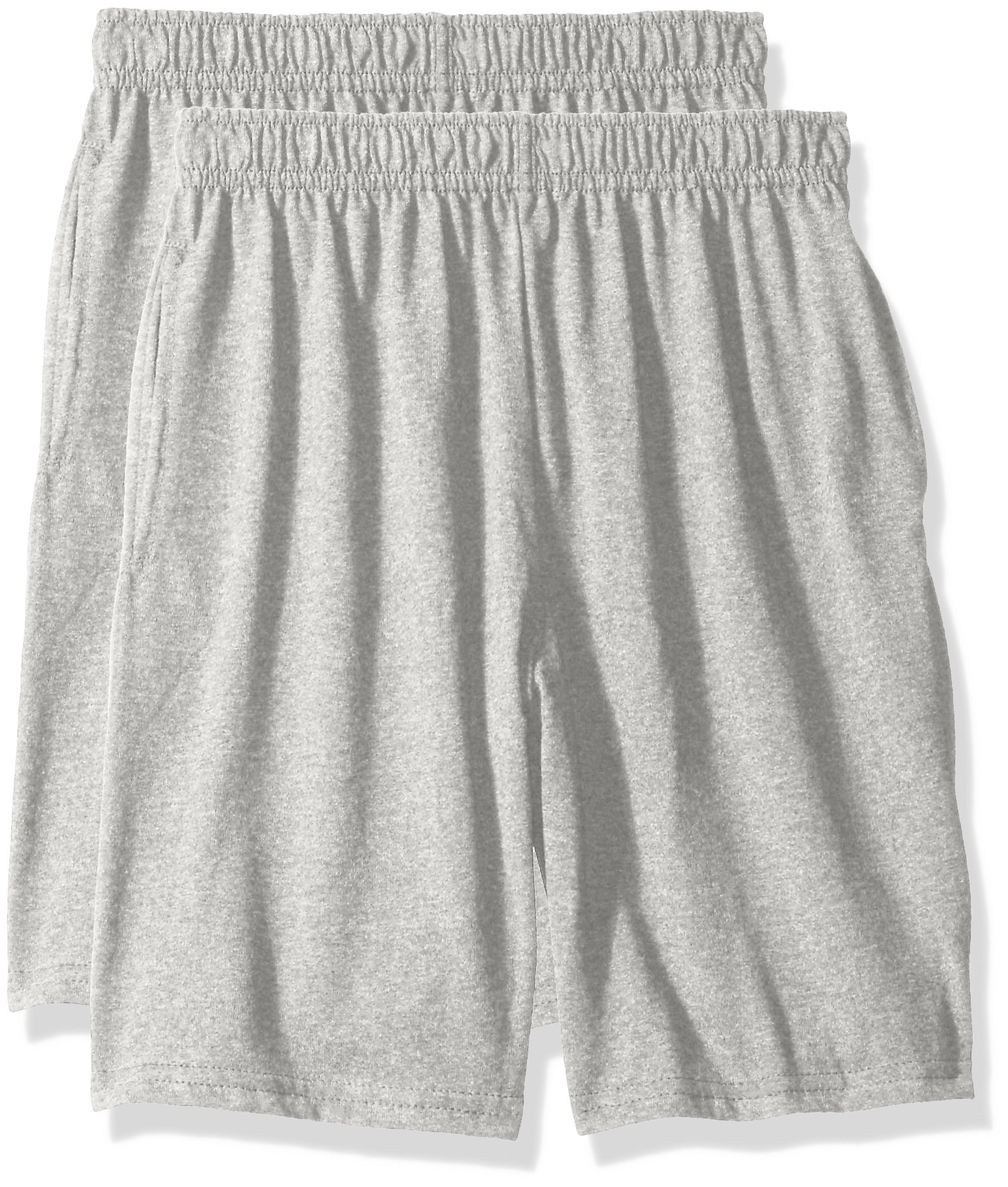 Hanes Big Boys' Jersey Short (Pack of 2), Light Steel, XS