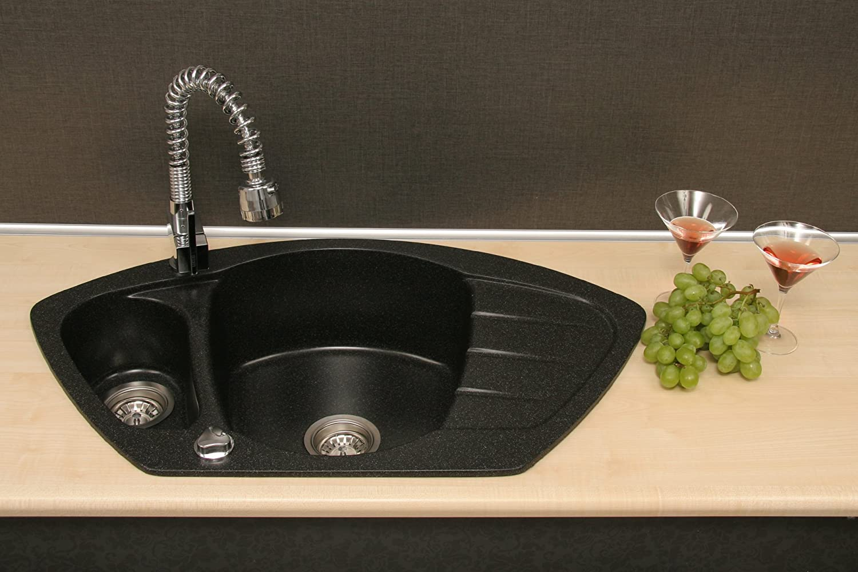 /Évier dangle en granit Modena rev/êtement antibact/érien avec dispositif de trop-plein /évier encastrable dans /él/ément bas /à partir de 80cm /évier de cuisine avec bac de 1,5/avec /égouttoir