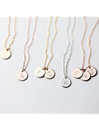 Delicate Initial Disc Necklace Rose Gold Initial Necklace Best Friend Personalized Bridesmaid Gift Women Holiday Letter...