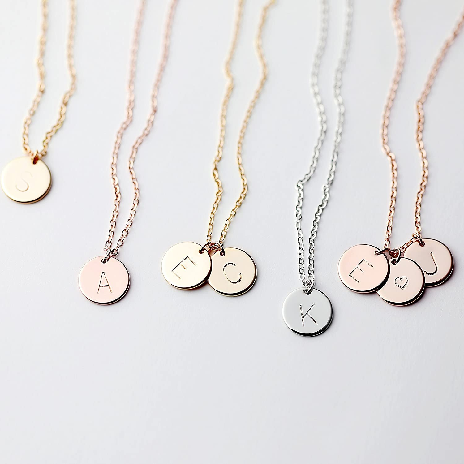 B015LOH854 Delicate Initial Disc Necklace Rose Gold Initial Necklace Best Friend Personalized Bridesmaid Gift Geometric Jewelry Women Holiday Letter Jewelry - CN 81CFFqGtTYL