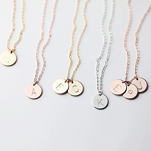 c297e23df6a21 Amazon.com  Delicate Initial Disc Necklace Rose Gold Initial Necklace Best  Friend Personalized Bridesmaid Gift Women Holiday Letter Jewelry - CN   Handmade