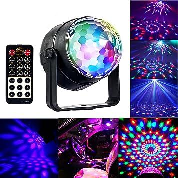 Discokugel Party Licht mit Fernbedienung, RGBWP Musik und Stimme ...